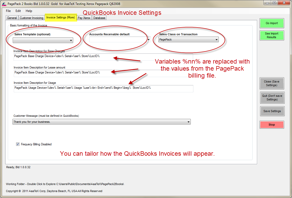 Xerox PagePack billing to QuickBooks