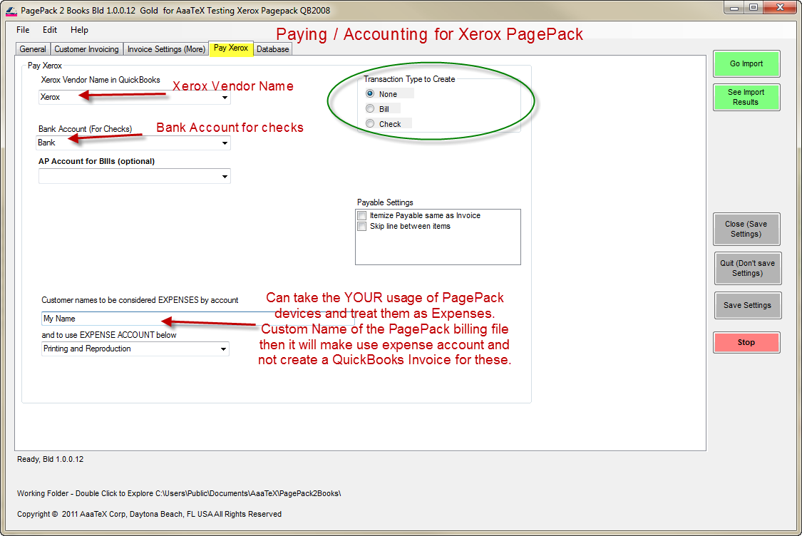 Xerox PagePack to QuickBooks Bill or Check